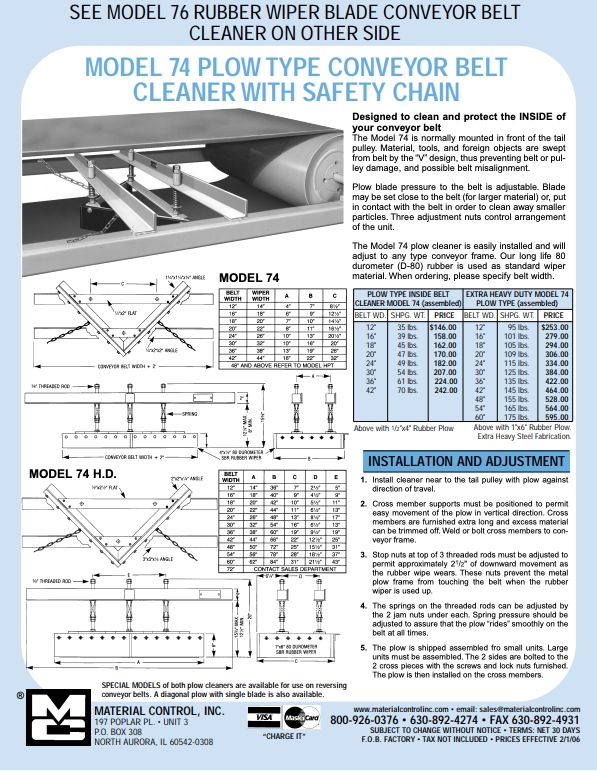 Plow-Style Conveyor Belt Cleaner poster with details