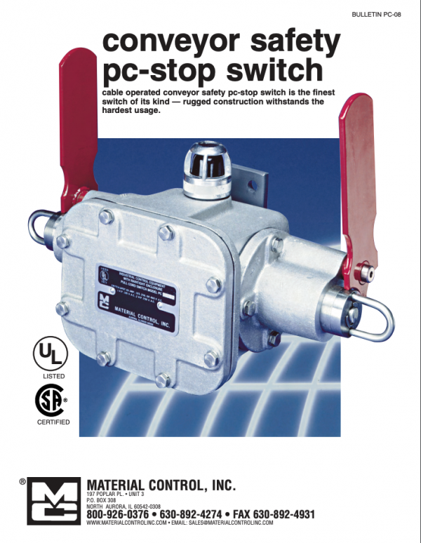 Conveyor safety pc-stop switch poster reads: cable operated conveyor safety pc-stop switch is the finest switch of its kind -- rugged construction withstands the hardest usage