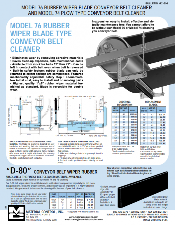 Rubber Straight-Bladed Conveyor Belt Cleaner poster with details
