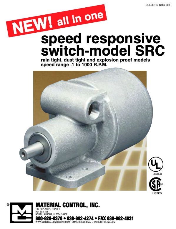 Speed responsive switch-model SRC poster reads: rain tight, dust tight and explosion proof models; speed range .1 to 1000 R.P.M.
