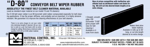 D-80 Conveyor Belt Wiper Rubber Specs